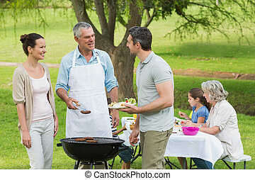 Extended family with barbecue in park - View of an extended...