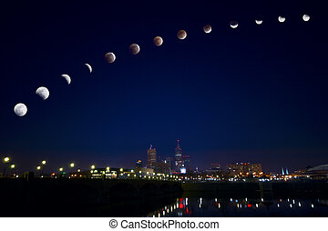 Moon eclipse over city - Phases of full lunar eclipse on...