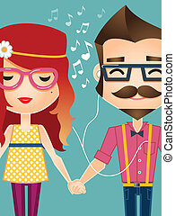 Hipster couple listening to music