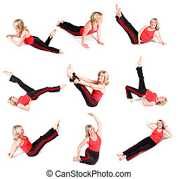 Senior Woman Various Yoga Poses - Composite image of a...