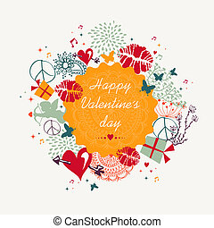 Happy Valentine`s day colorful circle label background