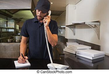 encima, orden, entrega, teléfono, pizza, guapo, toma, hombre...