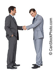 Happy business team shaking hands on white background