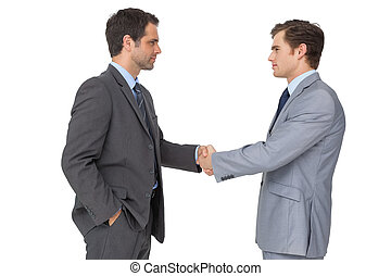 Smiling business team shaking hands on white background