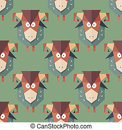 Seamless pattern of cartoon funny sheeps - Seamless pattern...