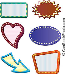 Retro Sign Borders - Six frames or borders designed to look...