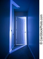 Door to the light - Conceptual image of a door opening to�...