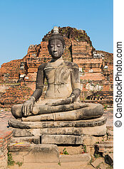 Ancient Buddha, Temple Wat Chaiwatthanaram at Ayutthaya...