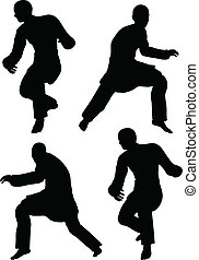 Karate martial art silhouettes of men in prowl poses - EPS...