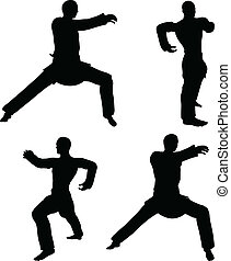 Karate martial art silhouettes of men in hardbow stance...
