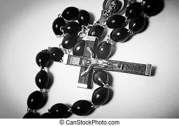 カトリック教, ビーズ, 木製である, 金属, 黒, 十字架像