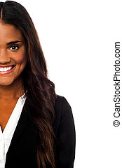 Cropped image of a smiling corporate lady - Cropped image of...