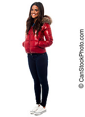 Beautiful girl wearing winter jacke - Smiling young girl...