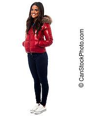 Beautiful girl wearing winter jacke - Smiling young girl...