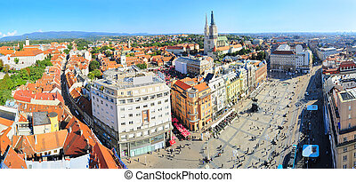 Croatian Zagerb aerial view - Panoramicc top view on Zagreb,...