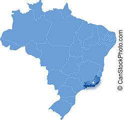 Map of Brazil where Rio de Janeiro is pulled out - Political...