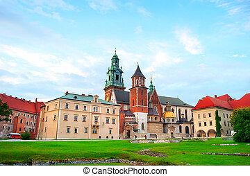 Wawel Castle in Krakow - View of a Wawel Castle at colorful...