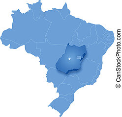Map of Brazil where Goias is pulled out - Political map of...