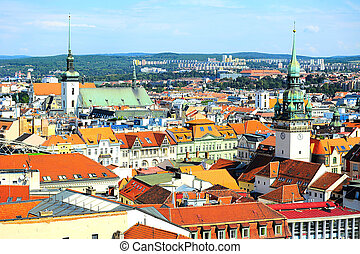 Brno cityscape - Skyline of Brno city in the sunny day,...