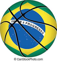 Basketball ball with brazilian flag on white.