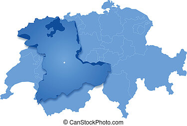 Map of Switzerland where Bern is pulled out - Political map...
