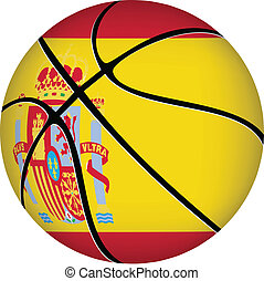Basketball ball with spanish flag on white.