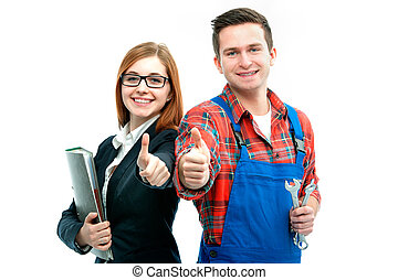 Apprentices for handyman and office showing thumbs up...