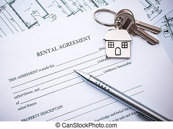 Lease agreement - Rental agreement document with keys and...