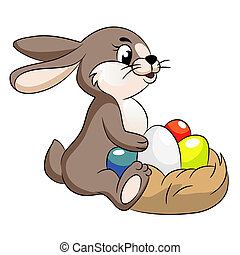 vector cute easter bunny illustration with eggs.