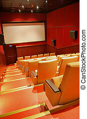 Movie Theater Seats - Modern cinema hall, beige seats