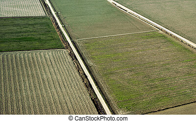 Cropland in spring, aerial
