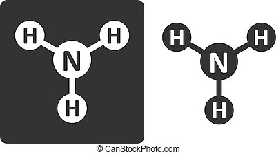 Ammonia NH3 molecule, flat icon style Atoms shown as circles...
