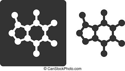 Caffeine molecule, , flat icon style. Stylized rendering....