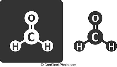 Formaldehyde pollutant molecule, flat icon style Atoms shown...