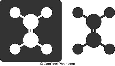 Ethylene (ethene) molecule, flat icon style. Carbon and hydrogen atoms shown as circles.