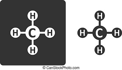 Methane (CH4) natural gas molecule, flat icon style. Atoms...