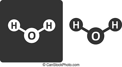 Water (H2O) molecule, flat icon style. Atoms shown as circles.