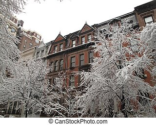 New York City Winter - New York City Brownstones Viewed on...