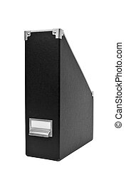 filing box - a black filing box with metal index card holder...