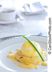 Eggs benedict - high key image of eggs benedict for...