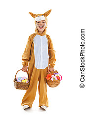 Child as easter hare with eggs and flowers - Child dressed...
