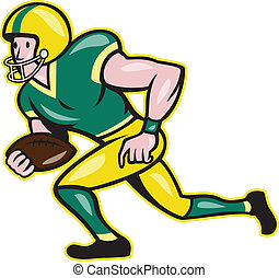 American Football Wide Receiver Running Ball - Illustration...