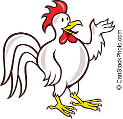 Rooster Cockerel Waving Hello Cartoon - Illustration of a...