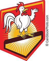Rooster Cockerel Waving Hello Shield Cartoon - Illustration...