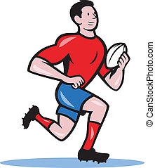 Rugby Player Running Ball Cartoon - Illustration of a rugby...