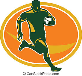 Rugby Player Running Ball Silhouette