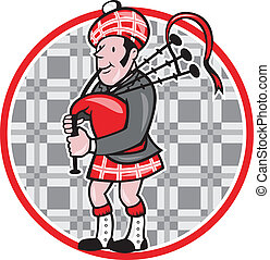 Scotsman Bagpiper Playing Bagpipes Cartoon - Illustration of...