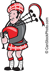 Scotsman Bagpiper Bagpipes Cartoon - Illustration of a...