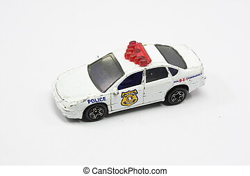 Police toy car shot on isolated white background.