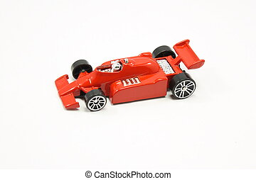 Indy racing toy car shot on isolated white background.